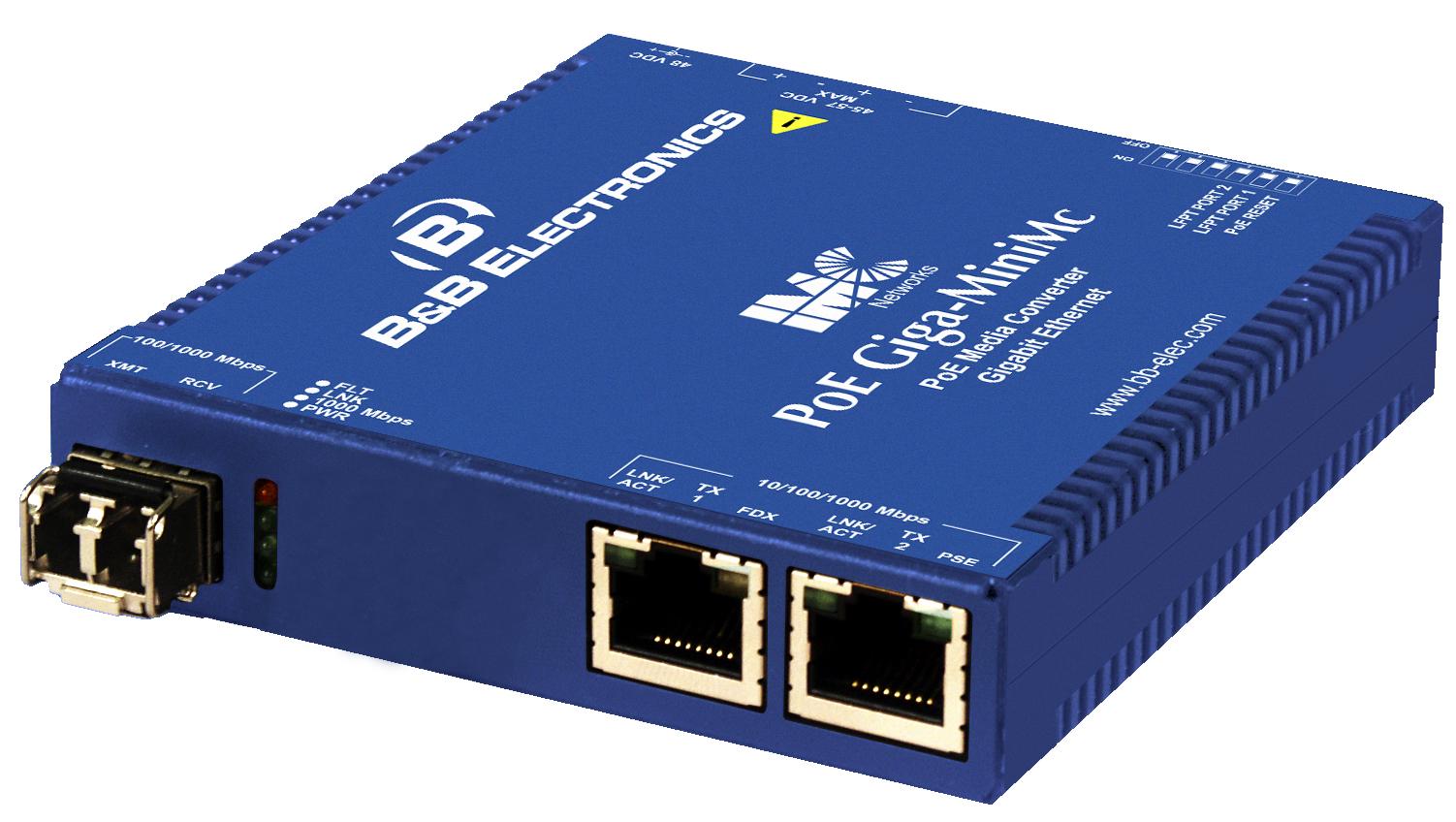 Неуправляемые медиаконвертеры PoE/PoE+ Giga-MiniMc питание 48 VDC